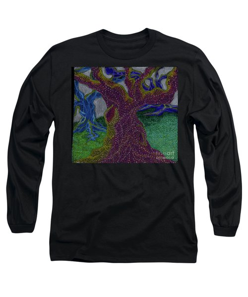 Long Sleeve T-Shirt featuring the drawing Three Trees by Kim Sy Ok
