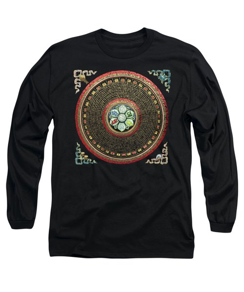 Tibetan Om Mantra Mandala In Gold On Black And Red Long Sleeve T-Shirt