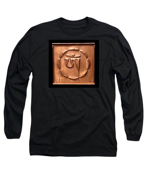 Long Sleeve T-Shirt featuring the relief Tibetan Om by Suhas Tavkar