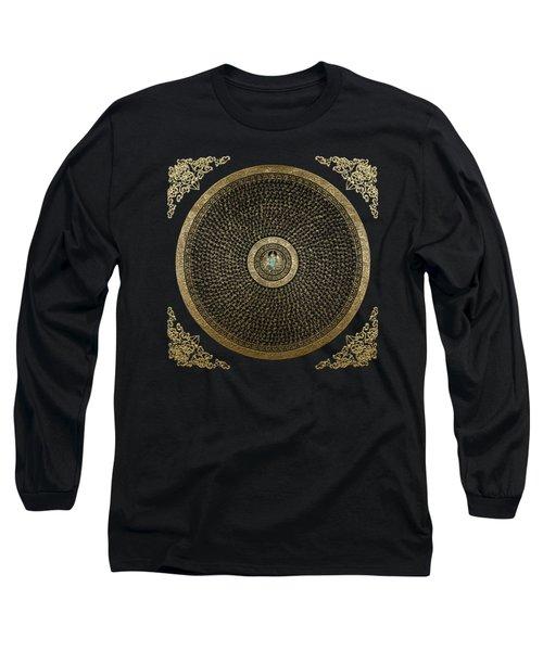 Tibetan Thangka - Green Tara Goddess Mandala With Mantra In Gold On Black Long Sleeve T-Shirt