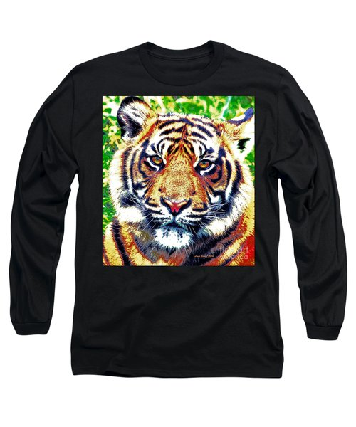 Long Sleeve T-Shirt featuring the painting Tiger Art by Annie Zeno