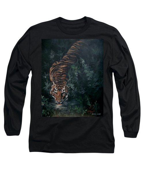 Long Sleeve T-Shirt featuring the painting Tiger by Bryan Bustard