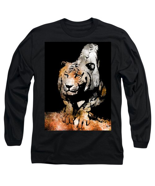 Long Sleeve T-Shirt featuring the drawing Tiger Collage #6 by Kim Gauge