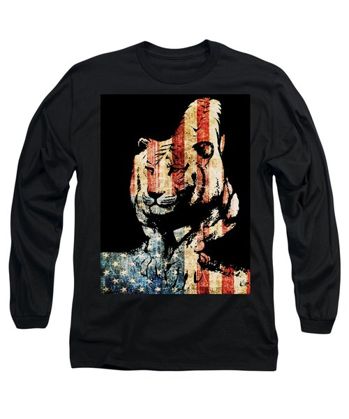 Long Sleeve T-Shirt featuring the drawing Tiger Collage #9 by Kim Gauge
