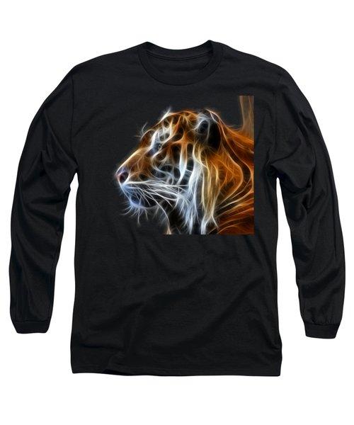 Tiger Fractal Long Sleeve T-Shirt by Shane Bechler
