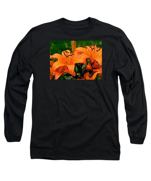 Tiger Lilies With Spring Shower Long Sleeve T-Shirt