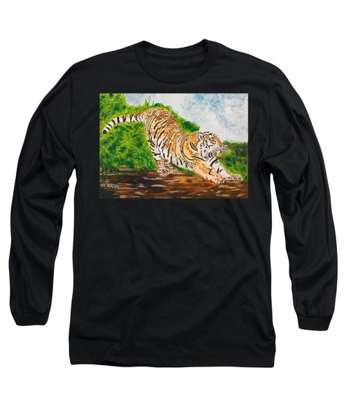 Tiger Stretching Long Sleeve T-Shirt by Valerie Ornstein