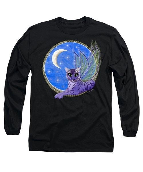 Long Sleeve T-Shirt featuring the painting Tigerpixie Purple Tiger Fairy by Carrie Hawks