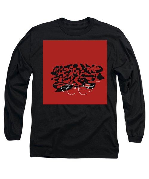 Long Sleeve T-Shirt featuring the digital art Timpani In Orange Red by Jazz DaBri