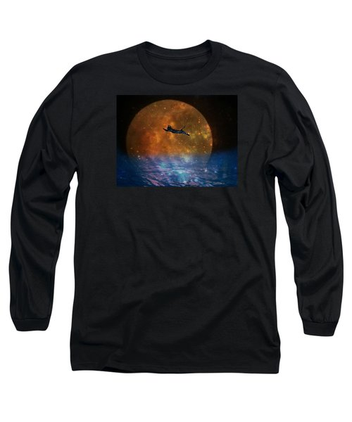 To The Moon And Back Cat Long Sleeve T-Shirt by Kathy Barney