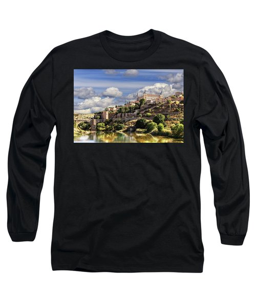 Toledo. Majestic Stone Fortress The Alcazar Is Visible From Any Part Of The City Long Sleeve T-Shirt