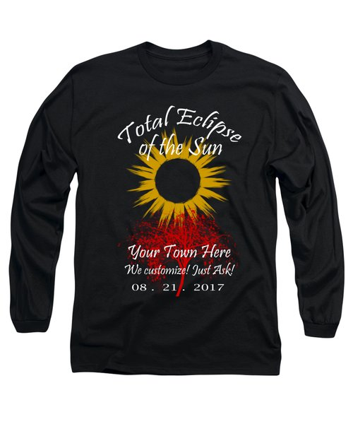 Total Eclipse Art For T Shirts Sun And Tree On Black Long Sleeve T-Shirt