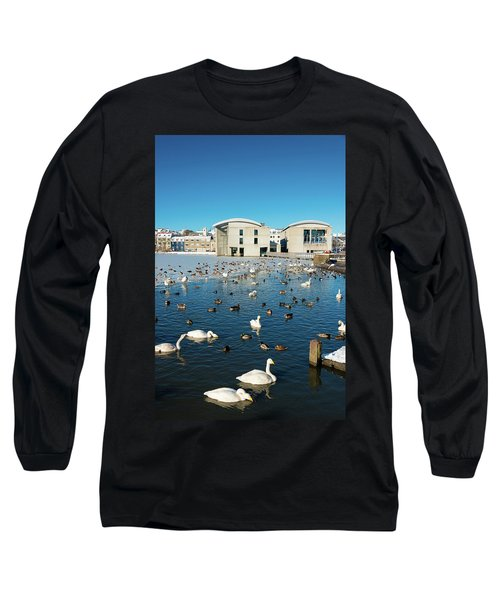 Long Sleeve T-Shirt featuring the photograph Town Hall And Swans In Reykjavik Iceland by Matthias Hauser