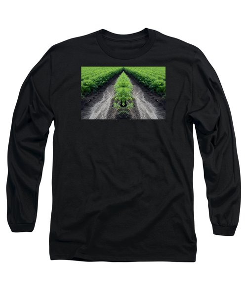 Long Sleeve T-Shirt featuring the photograph Tractor Trail Through The Field 3  by Lyle Crump