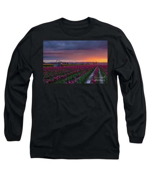 Long Sleeve T-Shirt featuring the photograph Tractor Waits For Morning by Mike Reid