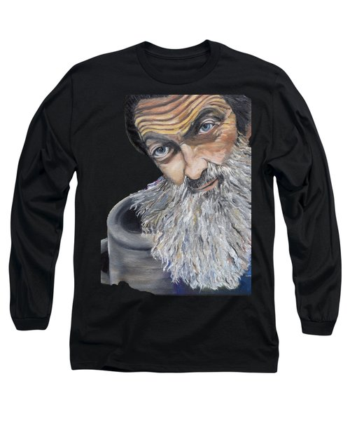 Popcorn Sutton Shines With Transparent Background -for T-shirts And Other Fabric Items- Moonshine Long Sleeve T-Shirt