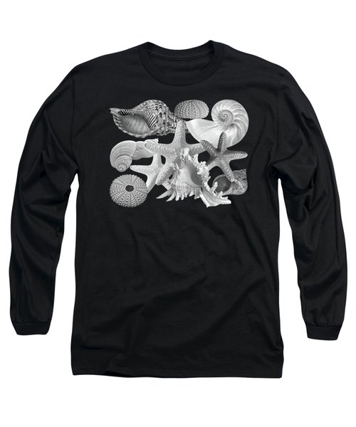 Treasures Of The Deep In Black And White Long Sleeve T-Shirt