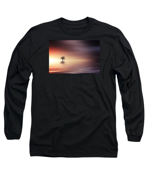 Tree And Birds On Lake Sunset Long Sleeve T-Shirt by Bess Hamiti