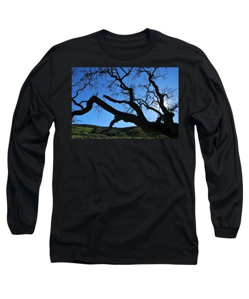 Tree In Rural Hills - Silhouette View Long Sleeve T-Shirt