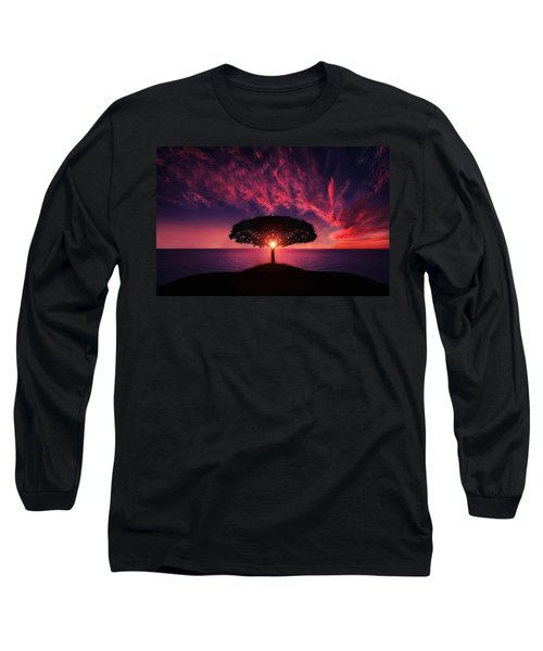 Tree In Sunset Long Sleeve T-Shirt by Bess Hamiti