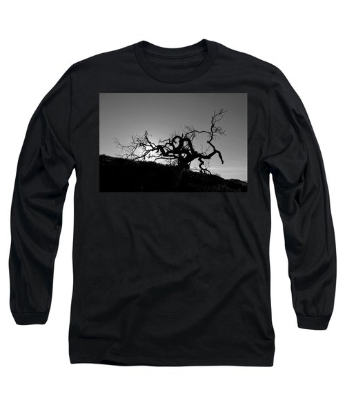 Tree Of Light Silhouette Hillside - Black And White  Long Sleeve T-Shirt