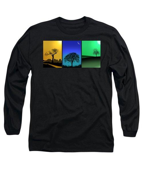 Tree Triptych Long Sleeve T-Shirt by Mark Rogan