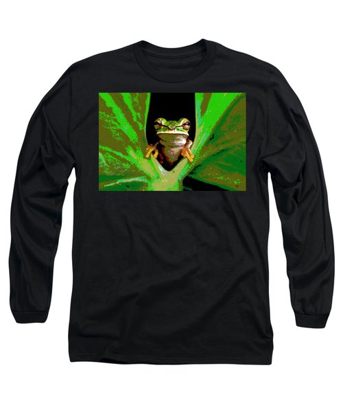 Long Sleeve T-Shirt featuring the mixed media Treefrog by Charles Shoup