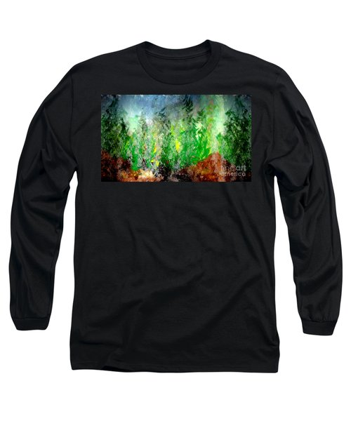 Long Sleeve T-Shirt featuring the painting Trees 4 by John Krakora