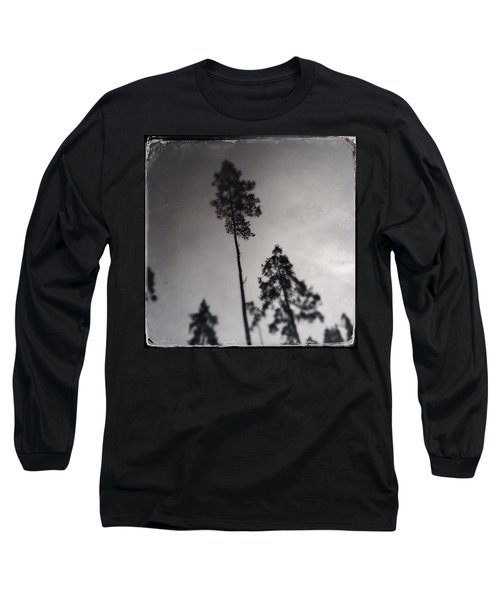 Trees Black And White Wetplate Long Sleeve T-Shirt
