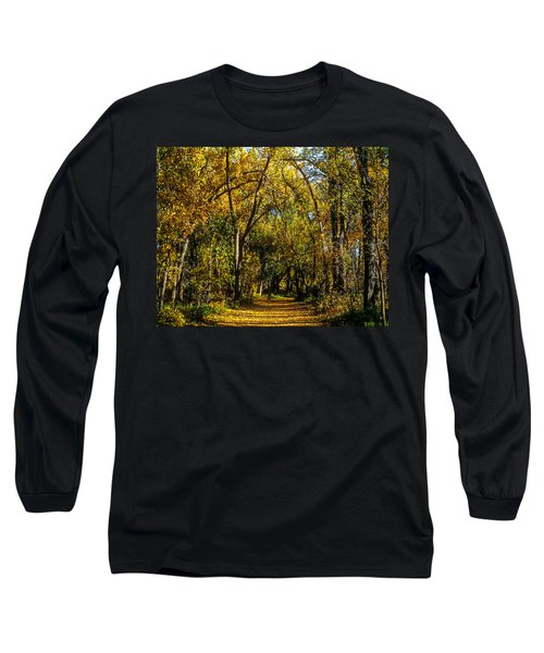 Trees Over A Path Through The Woods In Fall Color Long Sleeve T-Shirt by John Brink