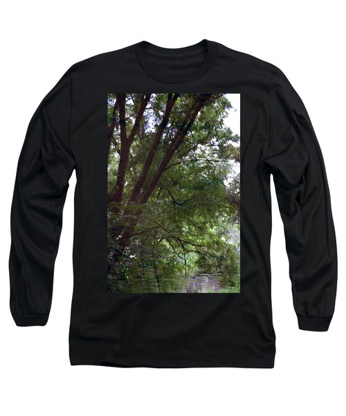 Trees Reflected In A Woodland Stream 2867 H_2 Long Sleeve T-Shirt