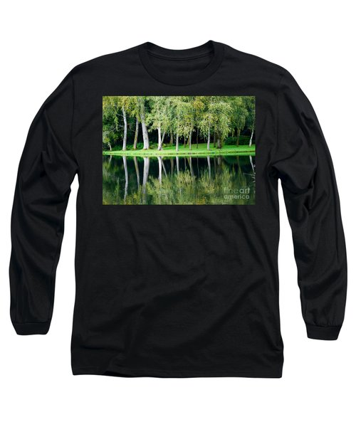 Trees Reflected In Water Long Sleeve T-Shirt by Colin Rayner