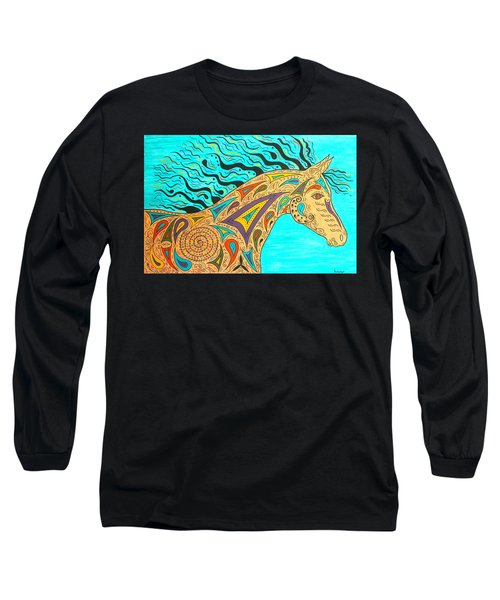 Tribal Carnival Spirit Horse Long Sleeve T-Shirt by Susie WEBER