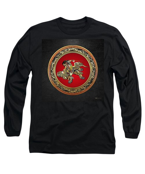 Tribute To Hokusai - Shoki Riding Lion  Long Sleeve T-Shirt