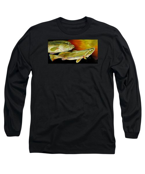 Long Sleeve T-Shirt featuring the painting Triple Trout by Phyllis Beiser