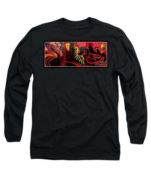 Long Sleeve T-Shirt featuring the painting Triptych Abstract Vision by Jolanta Anna Karolska
