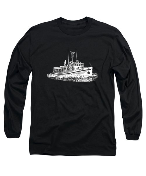 88 Foot Fantail Yacht Triton Long Sleeve T-Shirt by Jack Pumphrey