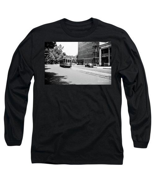 Long Sleeve T-Shirt featuring the photograph Trolley With Packard Building  by Cole Thompson