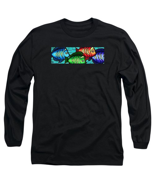 Long Sleeve T-Shirt featuring the painting Tropic Swim by Jim Harris