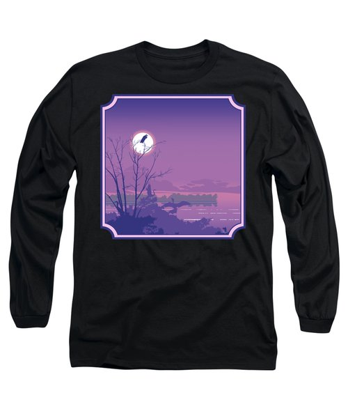 Tropical Birds Sunset Purple Abstract - Square Format Long Sleeve T-Shirt