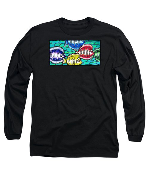 Long Sleeve T-Shirt featuring the painting Tropical Fish Swim by Jim Harris