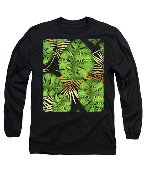 Tropical Haze Noir Green Monstera Leaves, Golden Palm Fronds On Black Long Sleeve T-Shirt