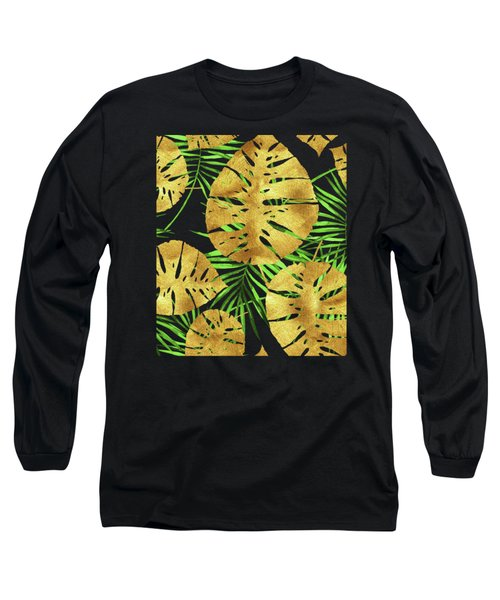 Tropical Haze Noir II Gold Monstera Leaves, Green Palm Fronds Long Sleeve T-Shirt