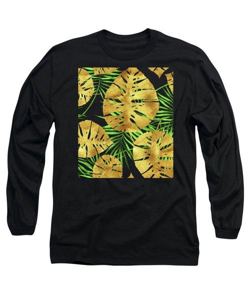 Tropical Haze Noir II Gold Monstera Leaves, Green Palm Fronds Long Sleeve T-Shirt