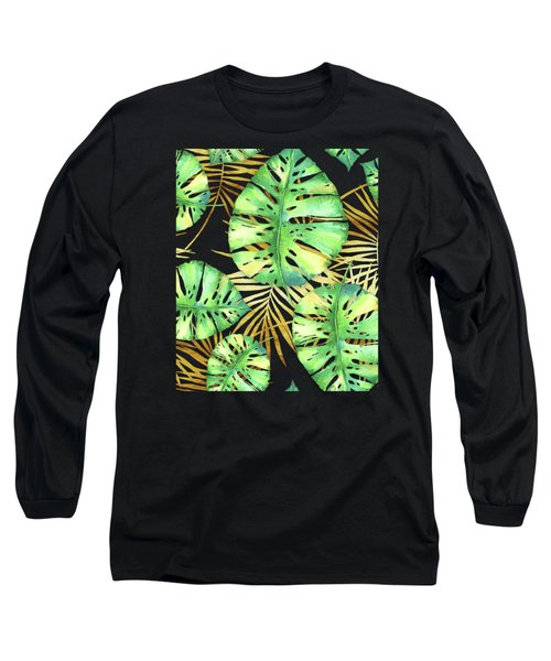 Tropical Haze Noir Variegated Monstera Leaves, Golden Palm Fronds On Black Long Sleeve T-Shirt