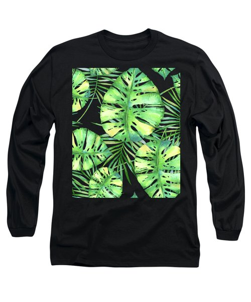 Tropics Noir, Tropical Monstera And Palm Leaves At Night Long Sleeve T-Shirt