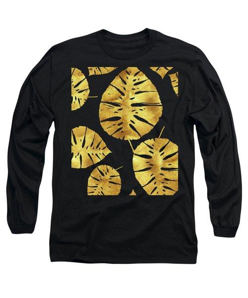Tropiques Dor Noir, Golden Tropics, Tropical Gold Monstera Leaves Long Sleeve T-Shirt