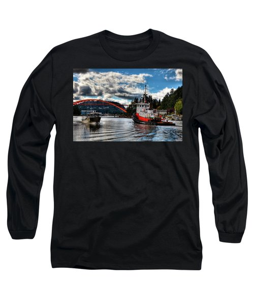 Tugboat At The Rainbow Bridge Long Sleeve T-Shirt by David Patterson