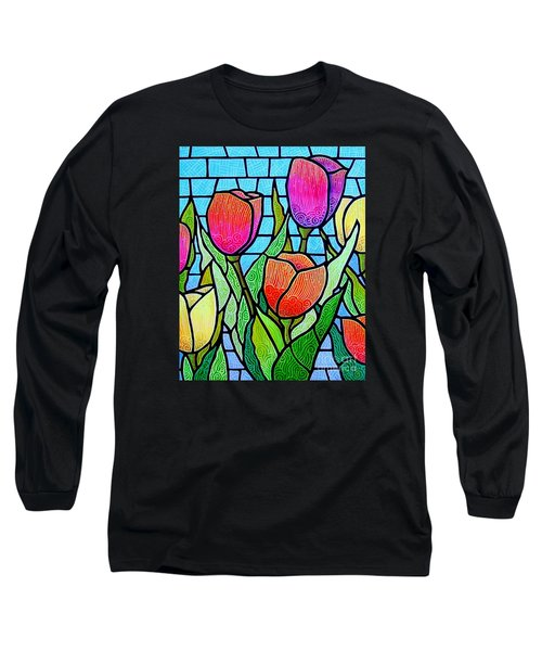 Long Sleeve T-Shirt featuring the painting Tulip Garden by Jim Harris