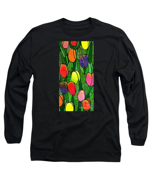 Long Sleeve T-Shirt featuring the painting Tulip Glory by Jim Harris